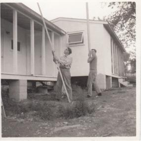 Michael Sellon and Dick Schooley building 'our motel'